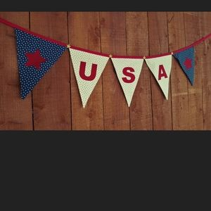 Other - USA 4th of July Patriotic fabric banner